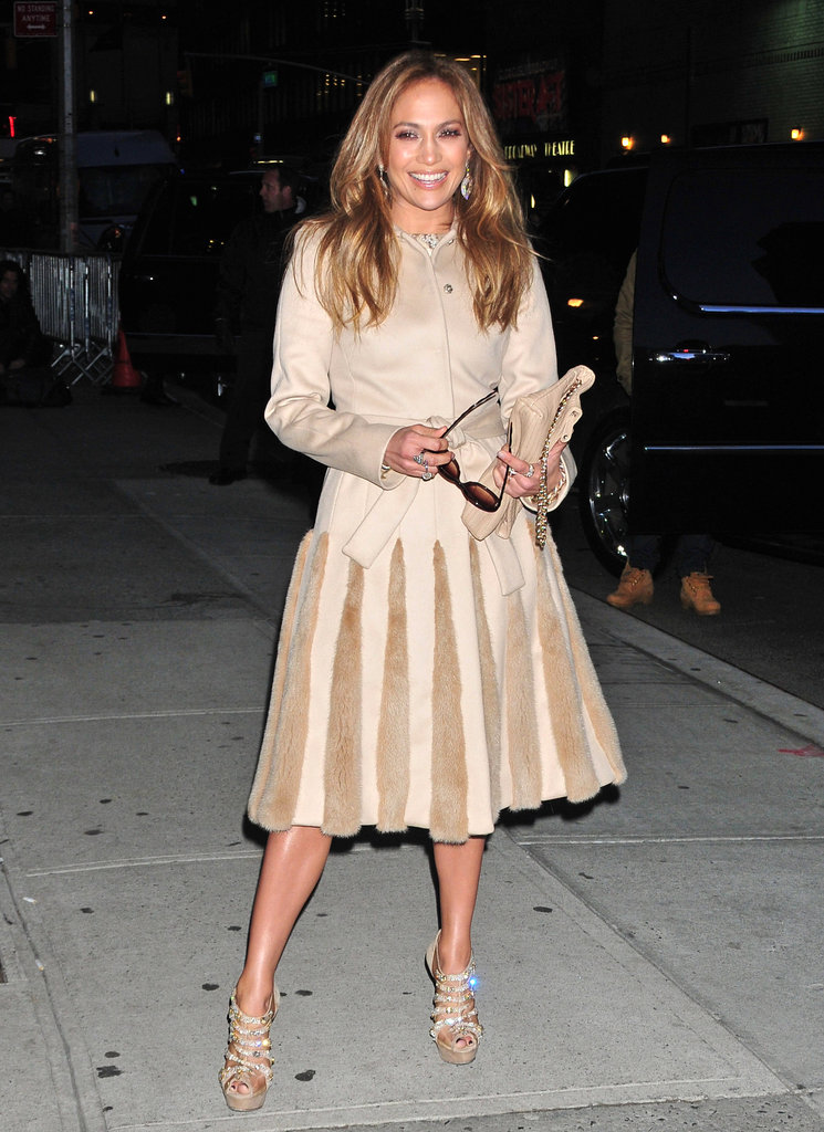 Jennifer Lopez was a guest on the Late Show in NYC.