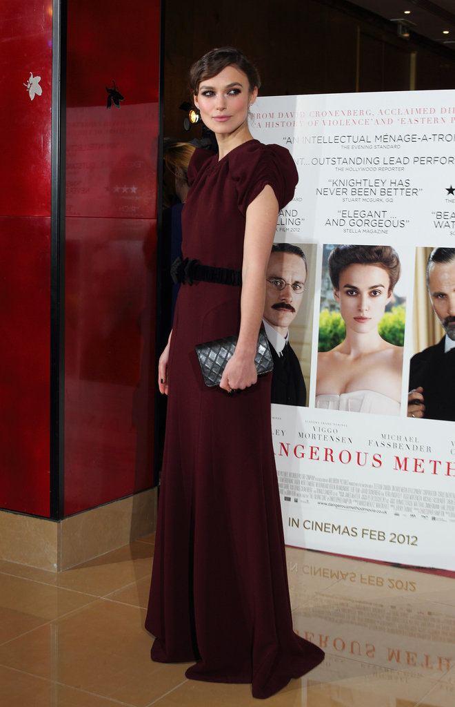 Keira Knightley posed in a long gown at a premiere of A Dangerous Method.