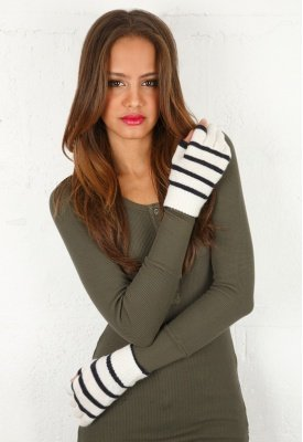 Channel a classic, nautical-inspired vibe with this striped pair. Touchy Gloves in Ecru With Oxford Blue Stripe ($55)