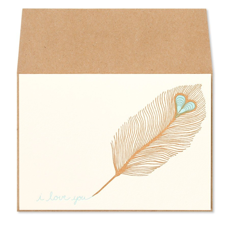 "Let this romantic feather write ""I love you"" for you.  Night Owl Paper Peacock Feather Letterpress $5"