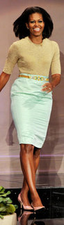Michelle Obama Gold Top Green Skirt