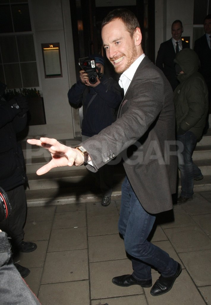 Michael Fassbender played around with photographers.