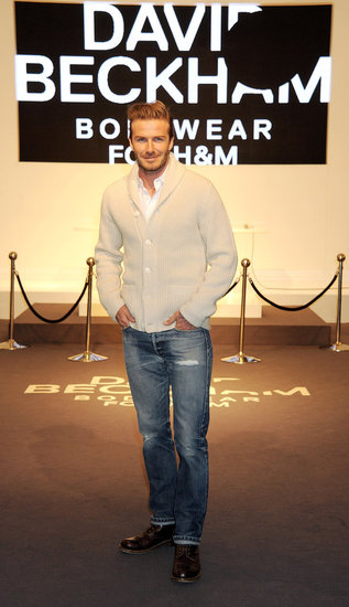 David Beckham H&M underwear ad launch in London.