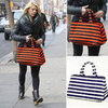 Claire Danes Orange and Black Striped Bag