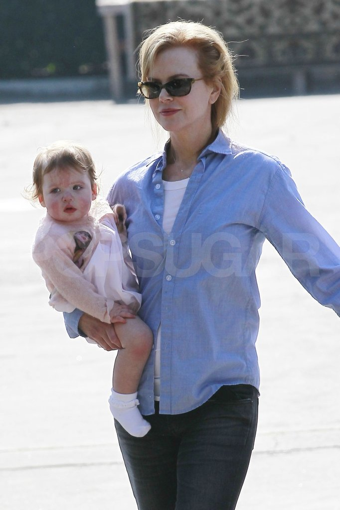 Nicole Kidman carried her baby Faith.