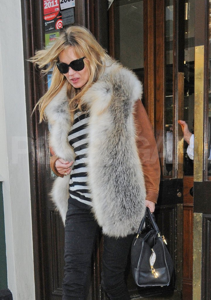 Kate Moss rocked a fur vest.