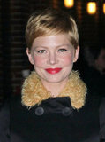 Michelle Williams had red lipstick on in NYC.