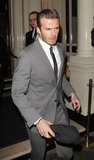 David Beckham was dressed in gray for a night out.