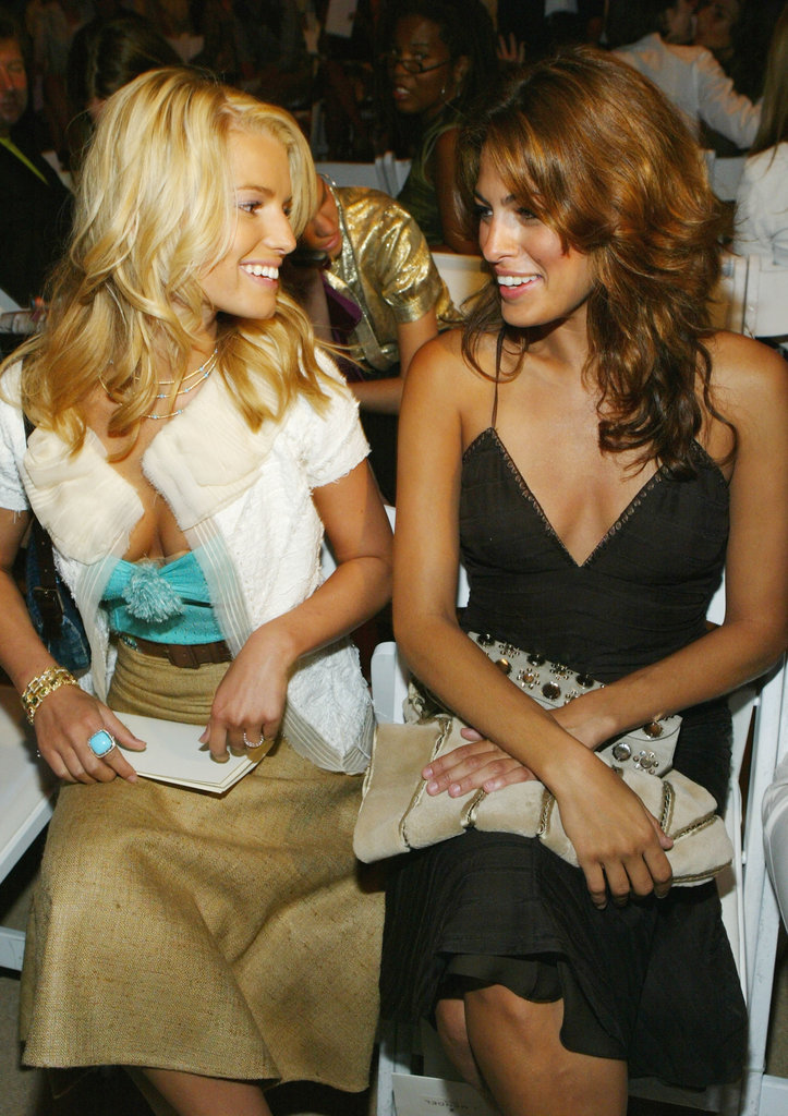 Jessica Simpson and Eva Mendes socialised while front row at J. Mendel's September 2005 show.