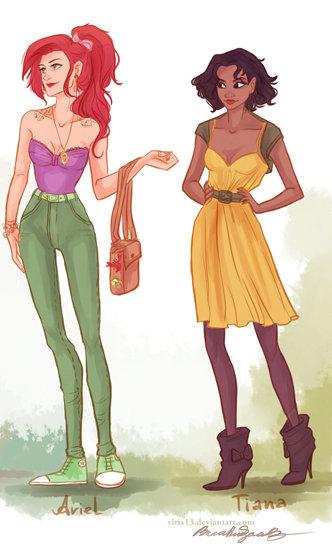 Love fashionable Disney princesses Ariel and Tiana