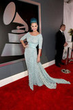 Katy Perry posed on the Grammys red carpet.