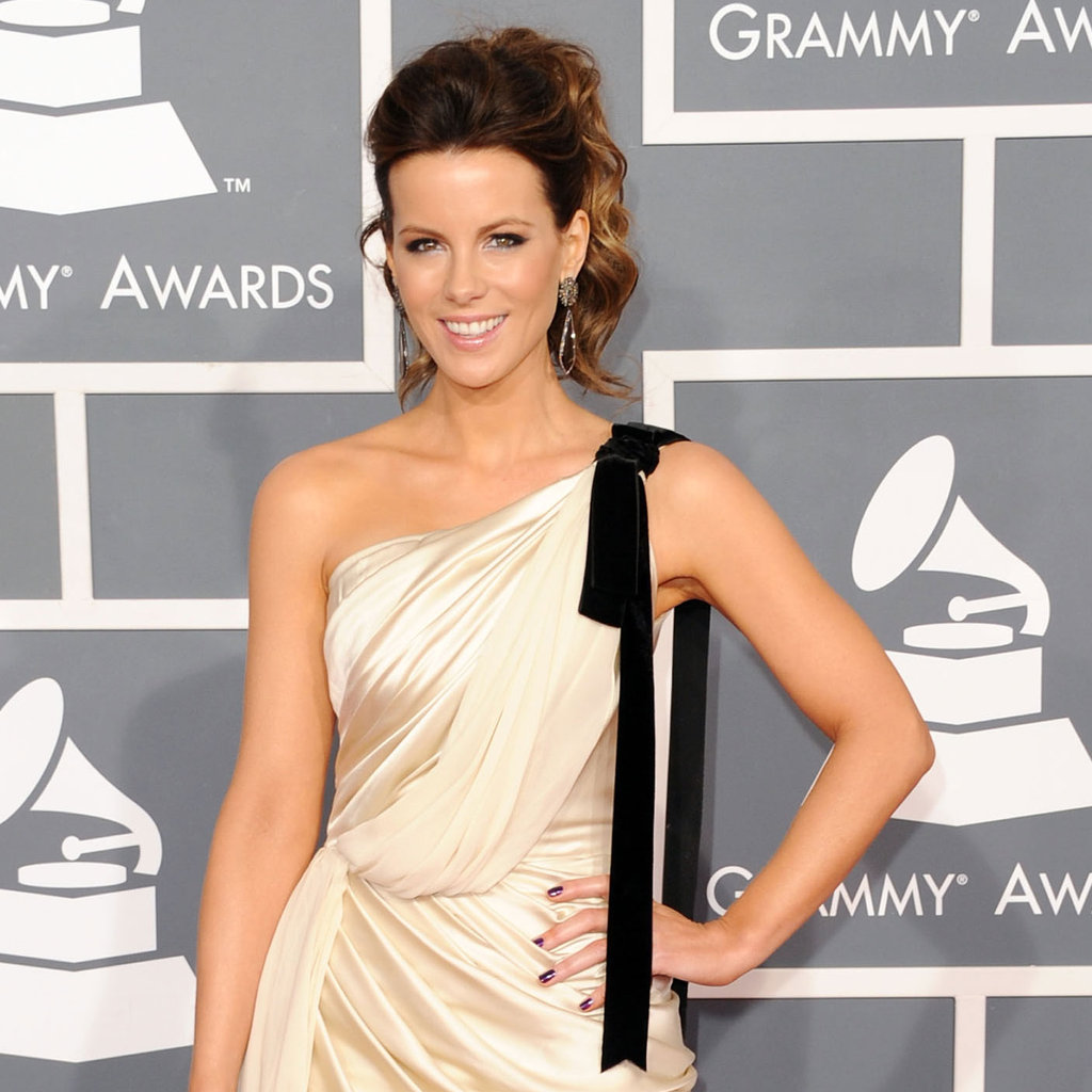 Kate Beckinsale in a black and white dress at the Grammys.