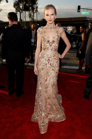 Taylor Swift donned a golden Zuhair Murad gown.