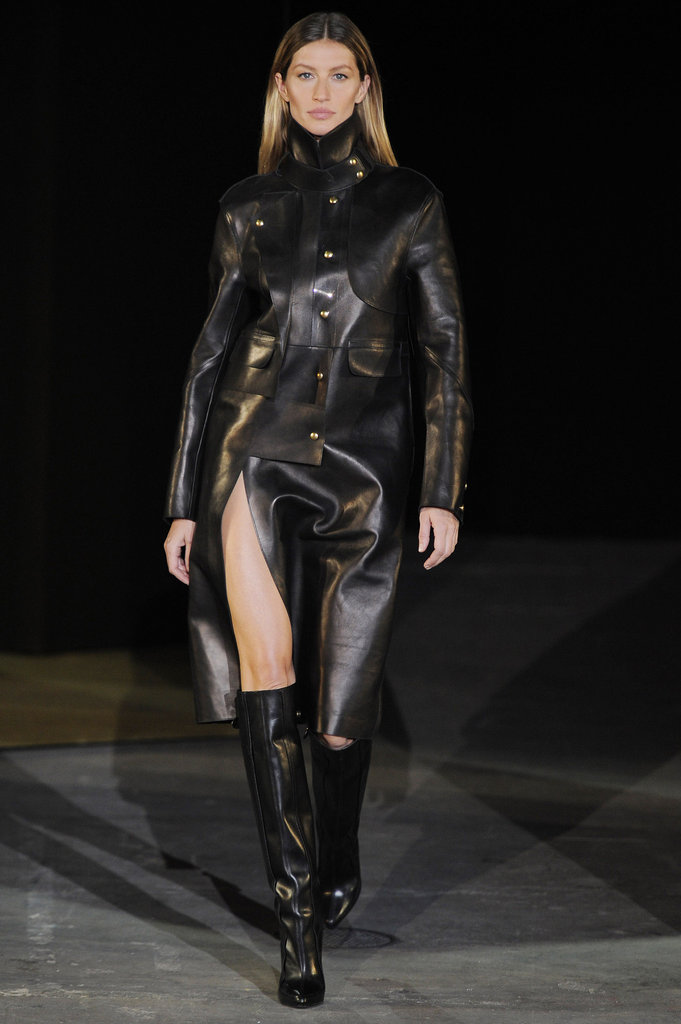This sexy leather coat with a thigh-high slit is exactly what we want when we're feeling fierce. It probably helps that it's being modeled on Gisele.