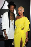 Rapper Wiz Khalifa and model Amber Rose arrive at the Grammys.