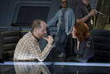 Director Joss Whedon and Scarlett Johansson as Black Widow on the set of The Avengers.  Photo courtesy of Disney