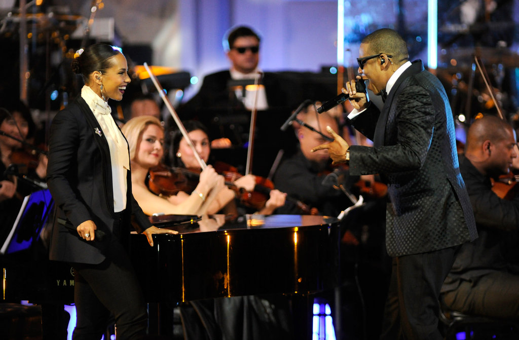 Jay-Z performing at Carnegie Hall with Alicia Keys.