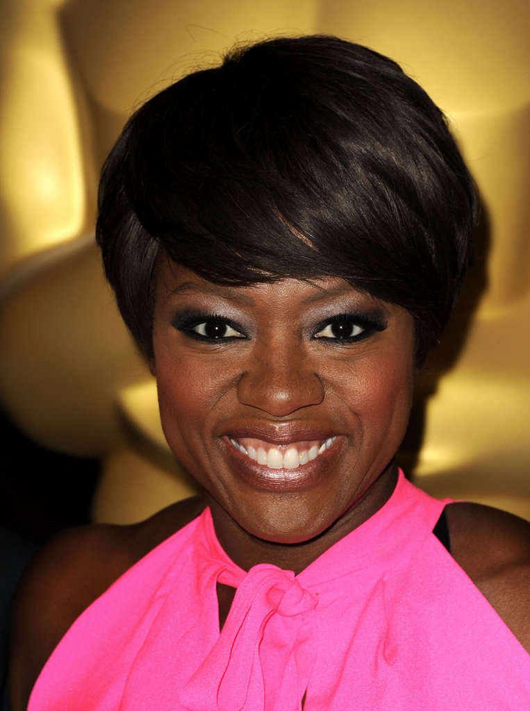 Viola Davis in hot pink at the 2012 Oscar nominees lunch.