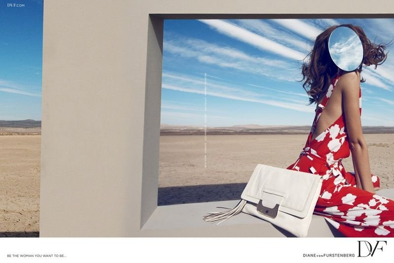 Diane von Furstenberg opted to feature a faceless model in a desert scene in her latest ad campaign.
