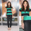 Ashley Madekwe Striped Polo Top