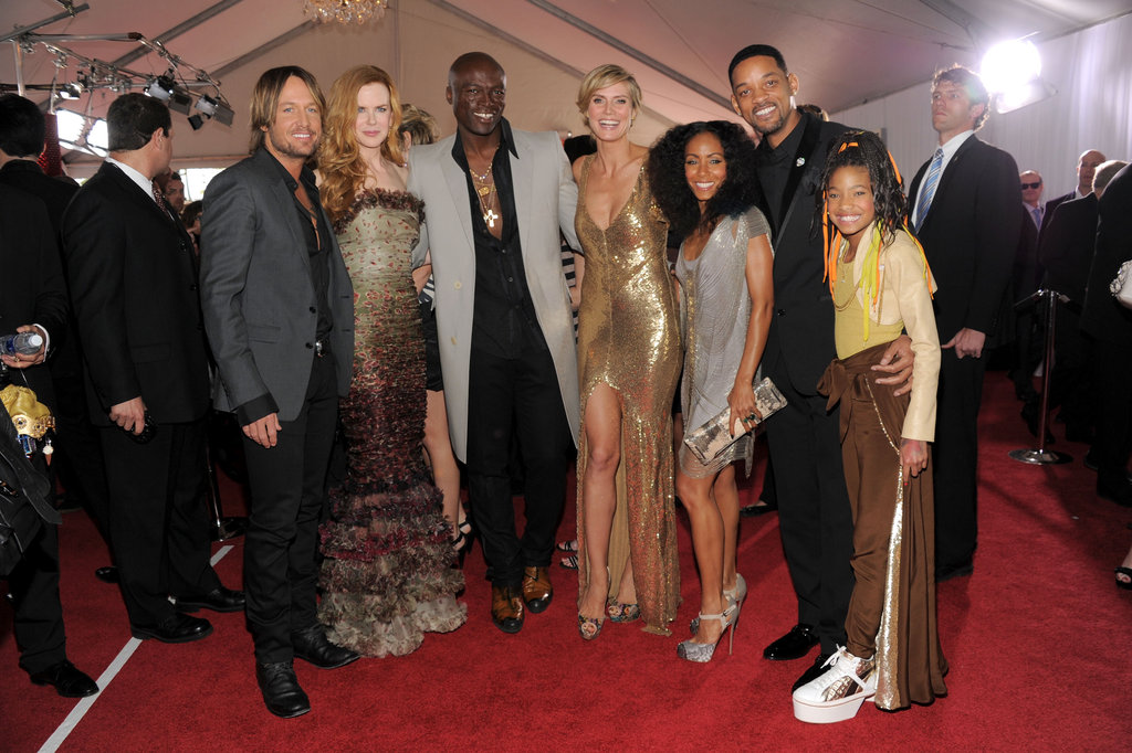 Keith Urban and Nicole Kidman posed with Seal, Heidi Klum, Will Smith, Jada Pinkett Smith, and Willow Smith at the 2011 Grammys.