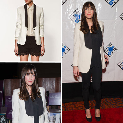 Liv Tyler at Room to Grow in White Tuxedo Blazer