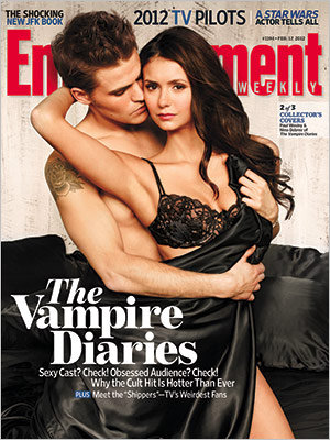 Nina Dobrev and Paul Wesley on the cover of Entertainment Weekly.