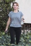 Jennifer Lawrence after working out.