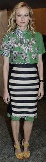 Diane Kruger Green Floral Top With Striped Skirt