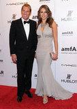 Elizabeth Hurley brought fiancé Shane Warne to the 2012 amfAR gala in NYC.
