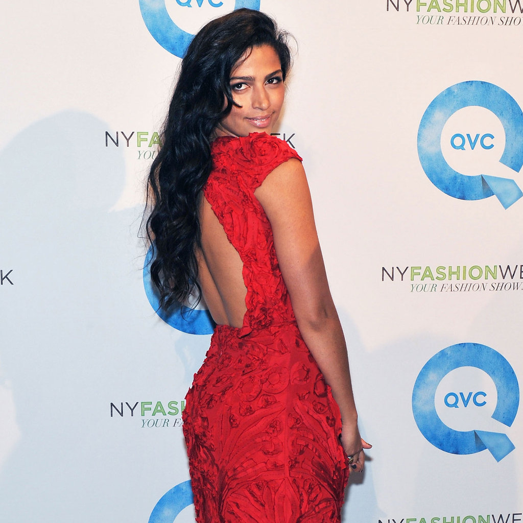 Camila Alves in a red dress at Fashion Week.