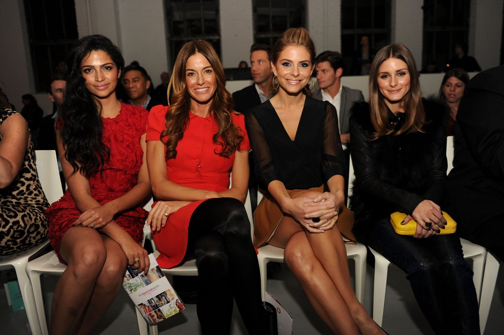 Camila Alves, Kelly Bensimon, Maria Menounos, and Olivia Palermo front row at Fashion Week.  Photo courtesy of worldredeye.com