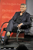 George Clooney lounged in a chair to chat with journalist David Carr.