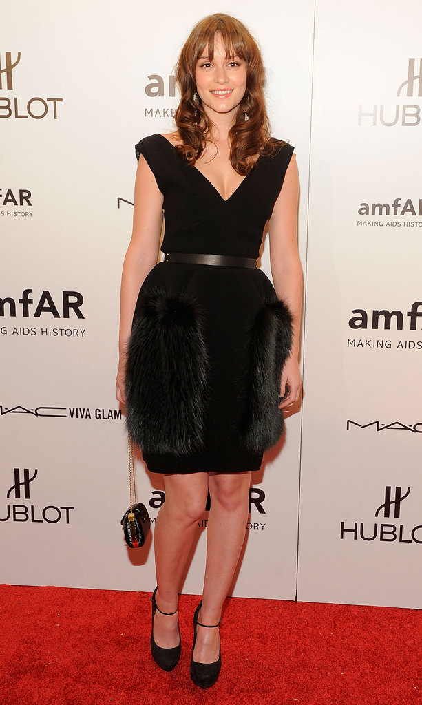 Leighton Meester's tulip-skirted Louis Vuitton also boasted a furry texture.
