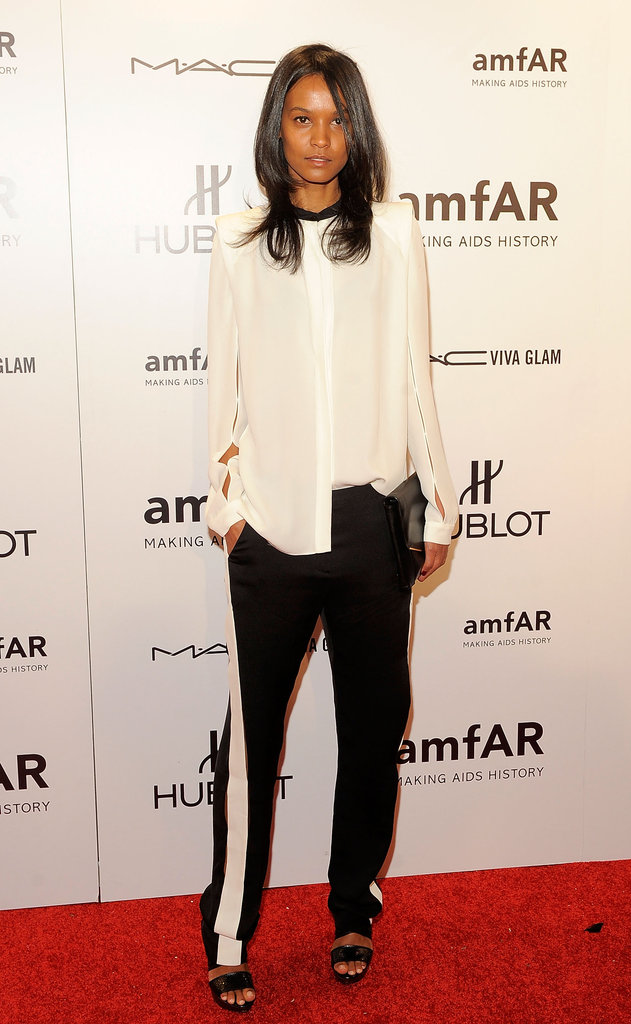 Liya Kebede made an ultrachic arrival in a black-and-white menswear-inspired look.