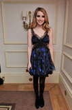 Emma opted for a cool blue floral and lace Julien Macdonald party frock at the 2010 British Fashion Awards.