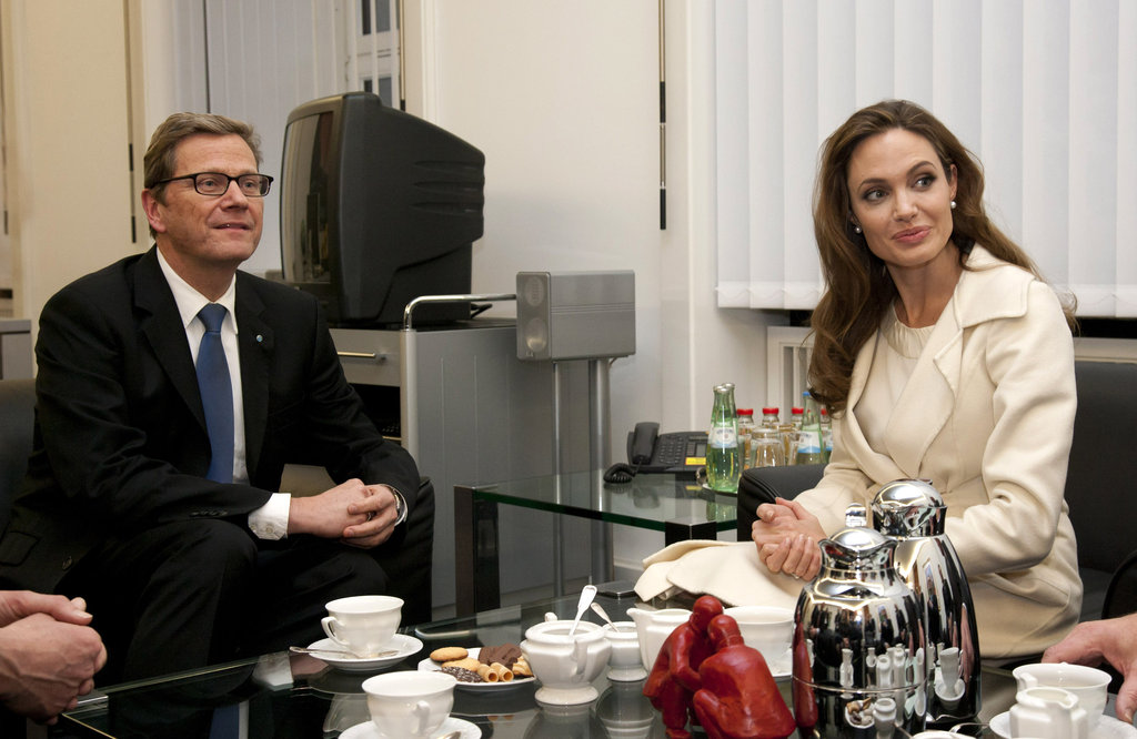 Angelina Jolie having tea in Germany.