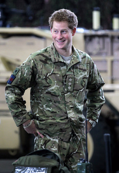 Prince Harry wore fatigues.