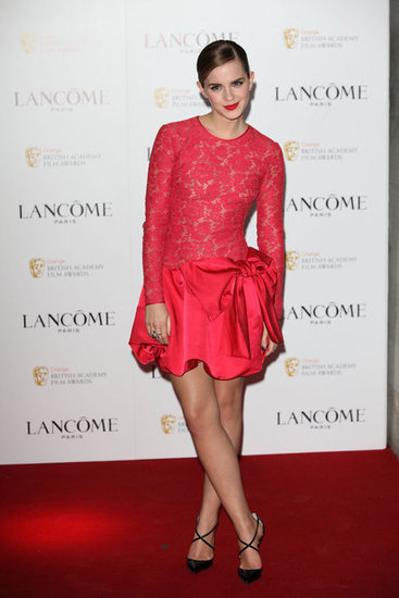 Emma Watson Brightens Up a Pre-BAFTA Party in Peekaboo Lace