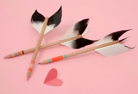 Let guests play cupid with these pencils while they prep for a secret Valentine note exchange.