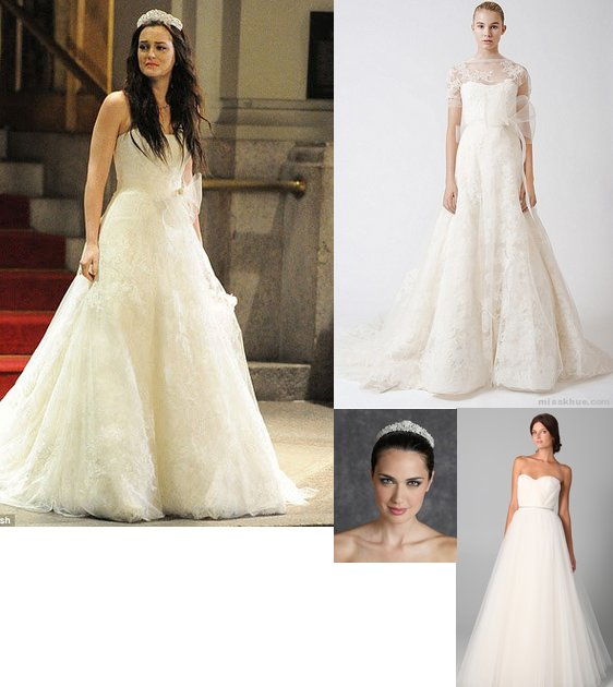 Blair wedding dress, Vera Wang, Ester Dress, Spring 2011, Chantilly, hollywood fashion lace, Reem Acra Virtue gown
