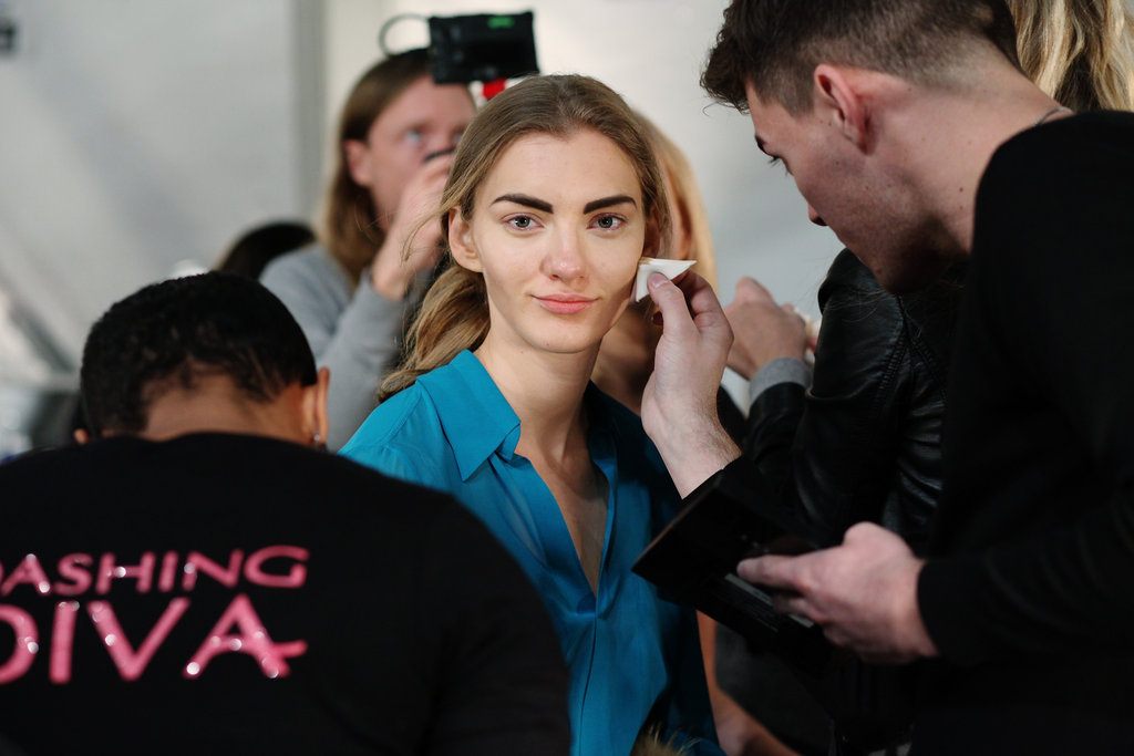 "The makeup look centered on a strong eyebrow and fresh, wind-blown face. ""It's a confident, sophisticated, understated look with a '90s twist,"" explained lead makeup artist Kimberly Soane (for Bobbi Brown). Photo: Roger Kisby"
