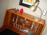 Vintage pewter collection in English dropfront desk