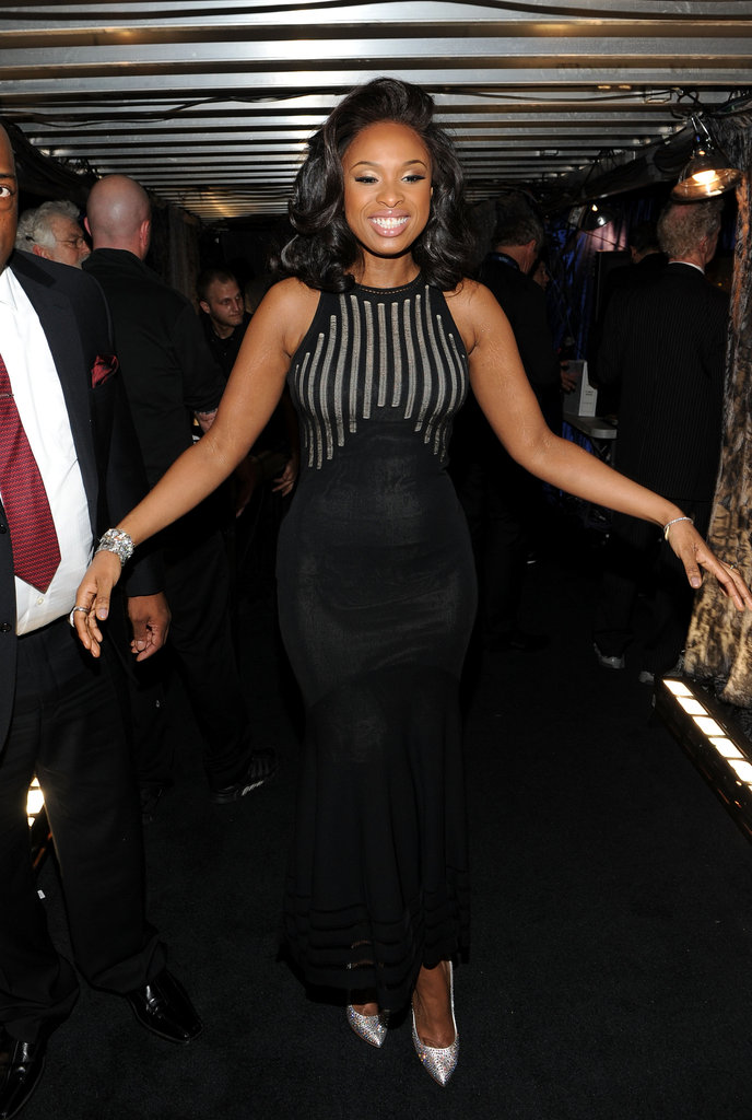 Jennifer Hudson celebrated backstage.