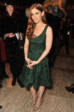 Kata Mara wore a forest green Zac Posen dress to the runway show at the Lincoln Center.