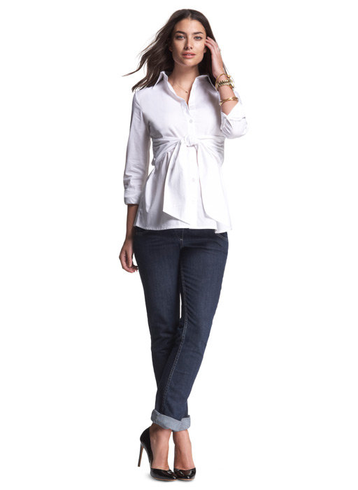 Maternity Interpretation: Isabella Oliver Tie Front Blouse ($125)