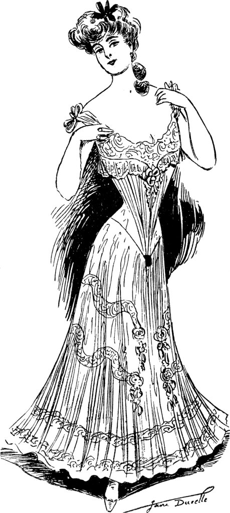 In 1904, this was the look of a corseted dress.