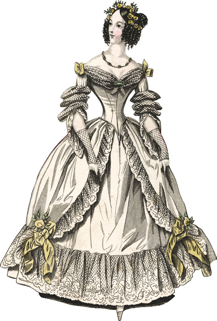 This is a ballgown with corset look from 1838.