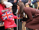 Kate Middleton said hello to a young fan outside a hospital in Liverpool.