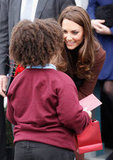 Kate Middleton said hello to a youngster in Liverpool.